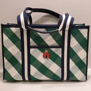 TALBOTS Green/navy Tote satchel w/ladybug emblem
